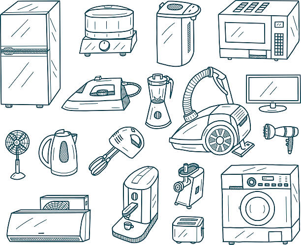 appliances doodles - mixing bowl stock illustrations, clip art, cartoons, & icons
