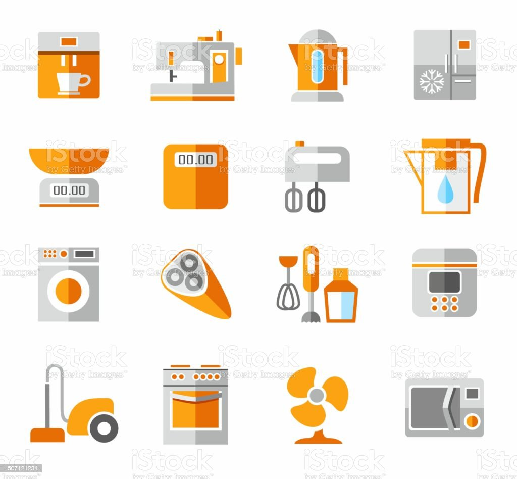Appliances, icons, colored, and orange. vector art illustration