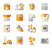 Appliances, icons, colored, and orange.