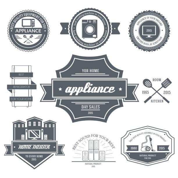 haushaltsgeräte label vorlage von emblem element für dein produkt - waschküchendekorationen stock-grafiken, -clipart, -cartoons und -symbole