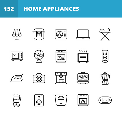 Appliances Line Icons. Editable Stroke. Pixel Perfect. For Mobile and Web. Contains such icons as Lamp, Air Conditioner, Laptop, Microwave, Toaster, Speaker, Blender, Oven, Dishwasher.