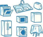 Household appliance concept illustrations.