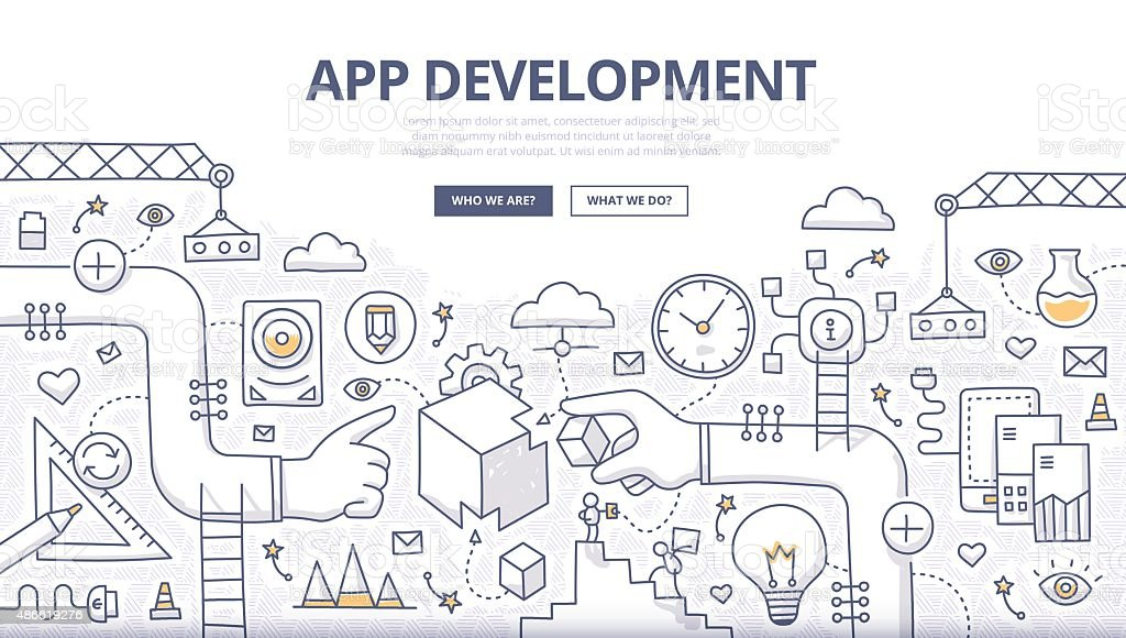 Application Development Doodle Concept vector art illustration