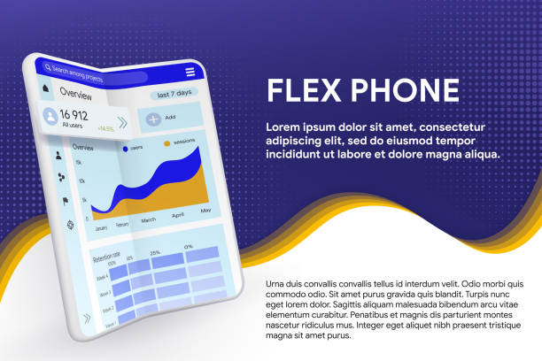 Application development for modern folding phones. Flexible phone in realistic 3D style. vector art illustration