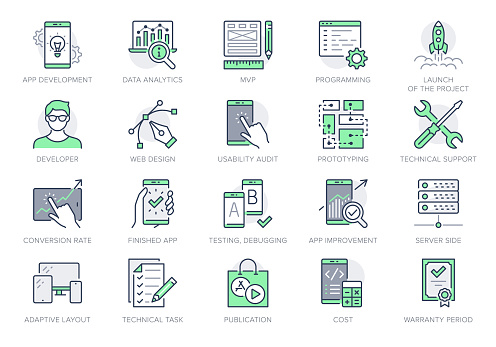 Application development line icons. Vector illustration included icon as mobile software, app ux prototyping, data analytics pictogram for web startup launch. Green Color, Editable Stroke