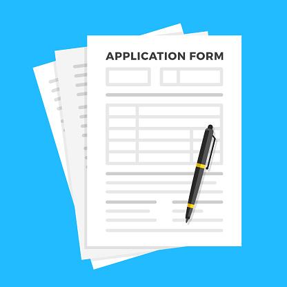 Application form and pen. Claim form, paperwork concepts. Flat design. Vector illustration