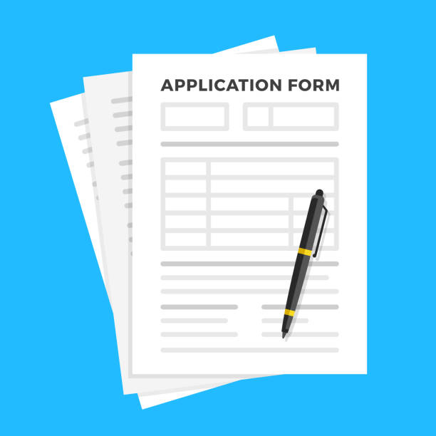 Application form and pen. Claim form, paperwork concepts. Flat design. Vector illustration vector art illustration