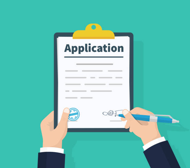 Application form. Man with clipboard in his hand fills in the form of employment. Write documents. Analyzing personnal resume. Flat design, vector illustration on green background. Application form. Man with clipboard in his hand fills in the form of employment. Write documents. Analyzing personnal resume. Flat design, vector illustration on green background application form stock illustrations