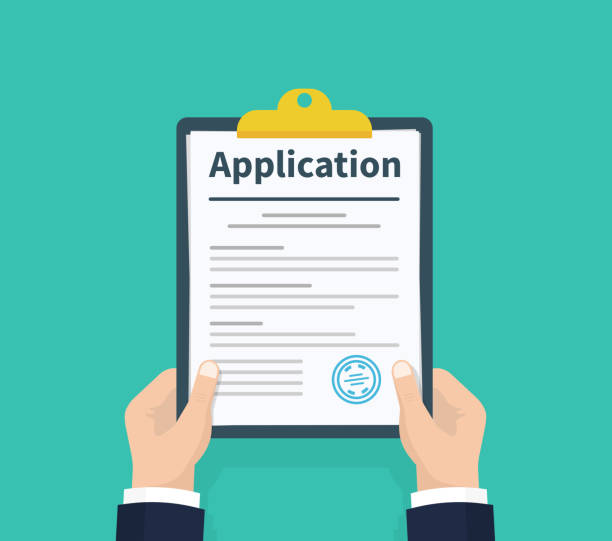 Application form. Man with clipboard in his hand fills in the form of employment. Write documents. Analyzing personnal resume. Flat design, vector illustration on green background. vector art illustration