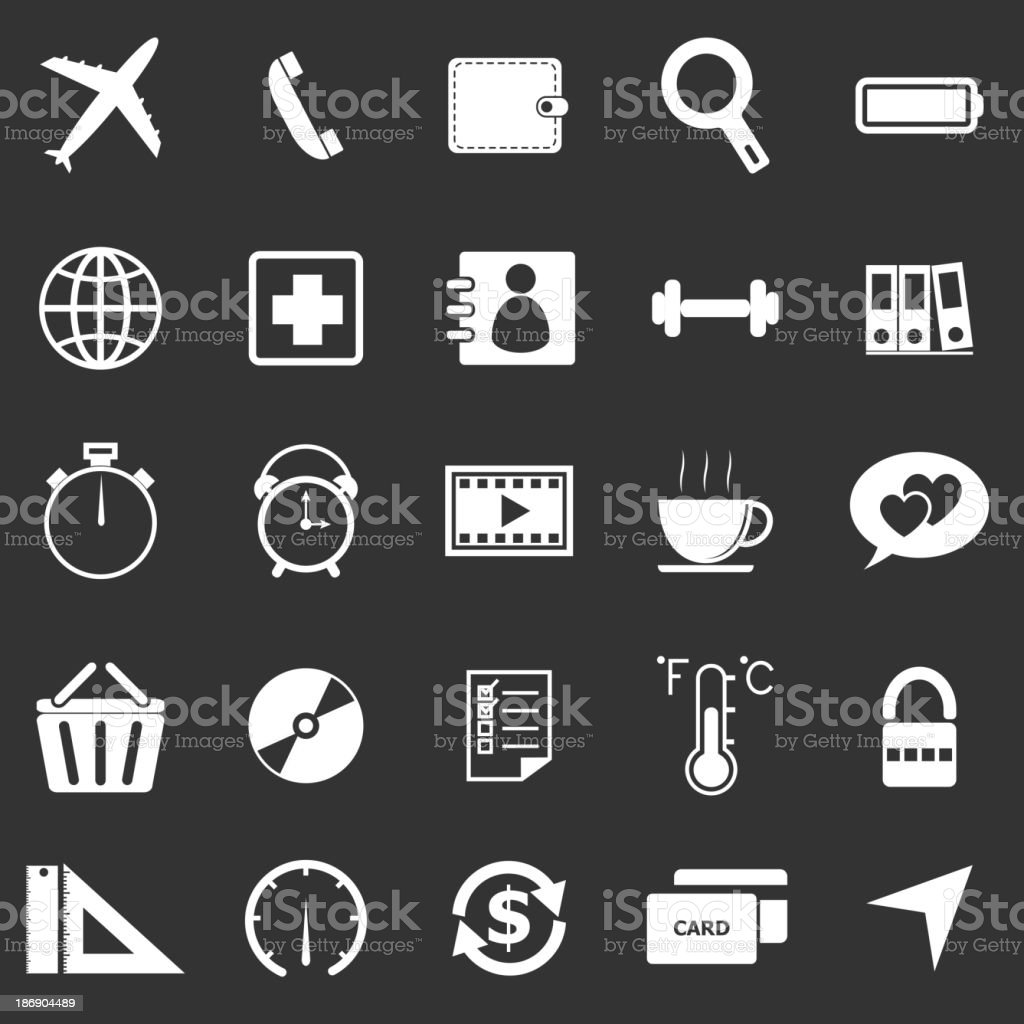 Application icons on black background. Set 2 royalty-free stock vector art