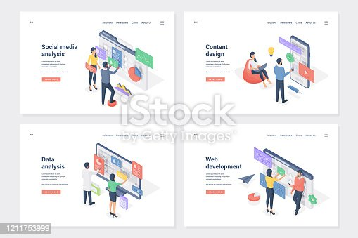 Application improvement stages isometric landing page templates set. Social media analysis, content design, data analytics, web development. Programmers and analysts cartoon characters
