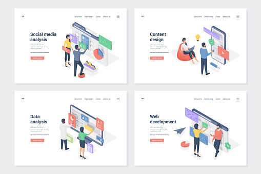 Application improvement stages isometric landing page templates set