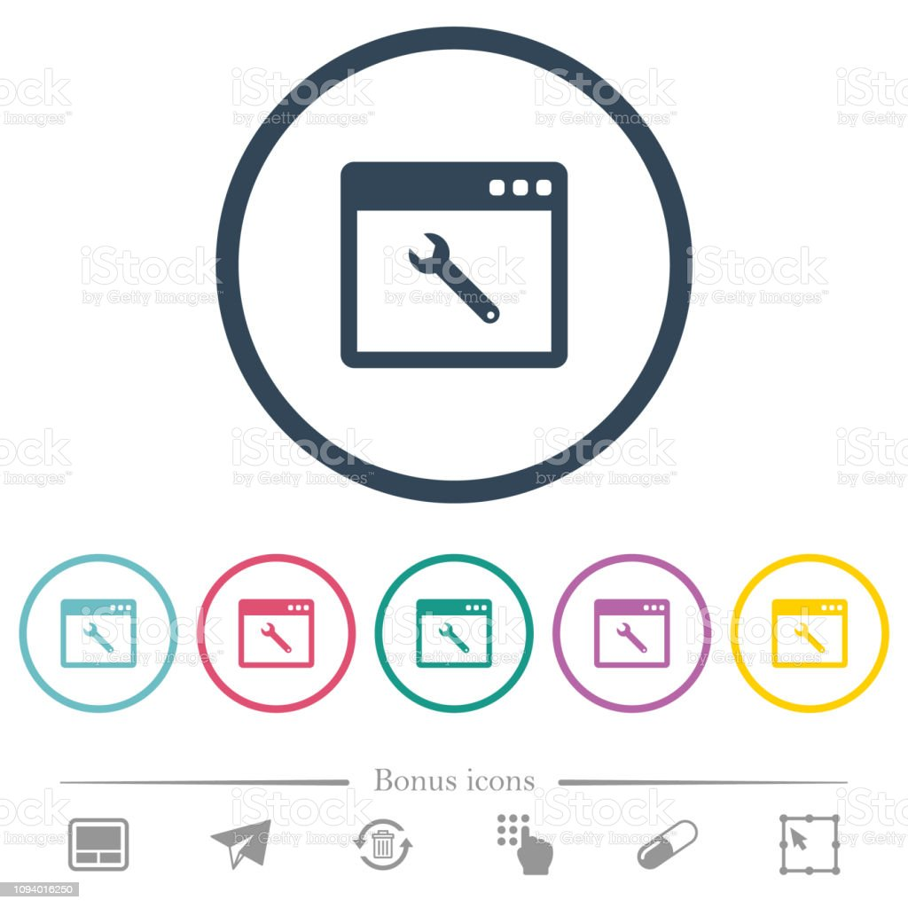 Application maintenance flat color icons in round outlines