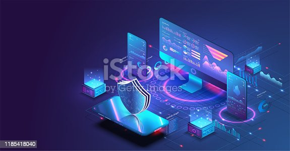 Application of pc and smartphone with business graph and analytics data. Isometric vector illustration of digital protection mechanism, system privacy.
