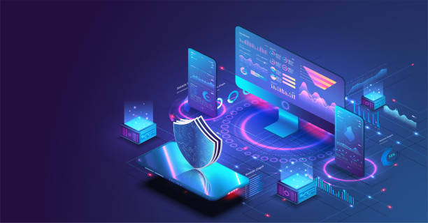 Application of pc and smartphone with business graph and analytics data. Isometric vector illustration of digital protection mechanism, system privacy. Data secure. Digital money market, investment Application of pc and smartphone with business graph and analytics data. Isometric vector illustration of digital protection mechanism, system privacy. security stock illustrations