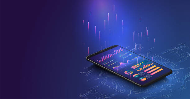 application of smartphone with business graph and analytics data on isometric laptop . analysis trends and financial strategy by using infographic chart. online statistics and data analytics. - digital display stock illustrations
