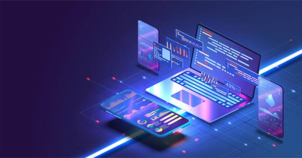 anwendung von smartphone mit business graph und analysedaten auf isometrischen mobiltelefonen. analysetrends und softwareentwicklungscodierungsprozesskonzept. programmierung, testen von plattformübergreifendem code - html stock-grafiken, -clipart, -cartoons und -symbole