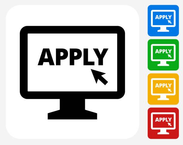 Application on Computer Icon Flat Graphic Design vector art illustration