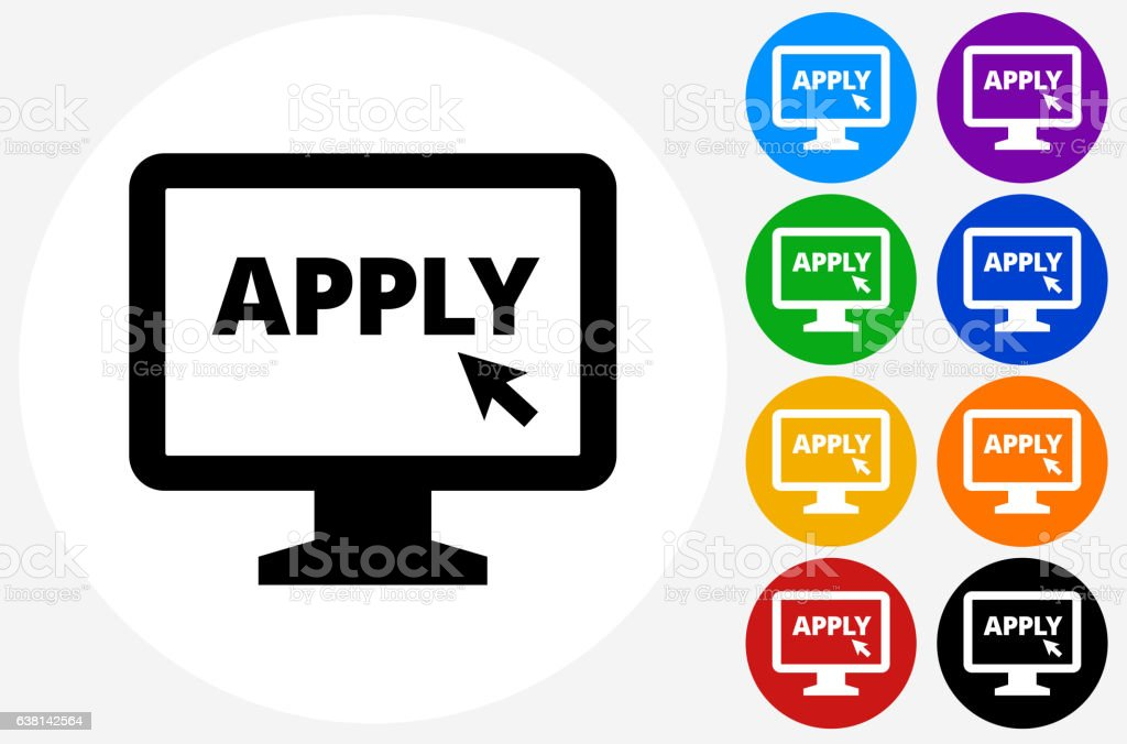 Application on Computer Icon on Flat Color Circle Buttons vector art illustration