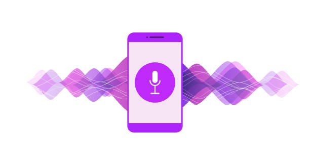 Application on mobile, assistant for voice recognition , speech detect. Concept of deep learning. Vector colorful illustration with mobile phone, sound symbol, microphone button, voice and sound line on white background. speech recognition stock illustrations
