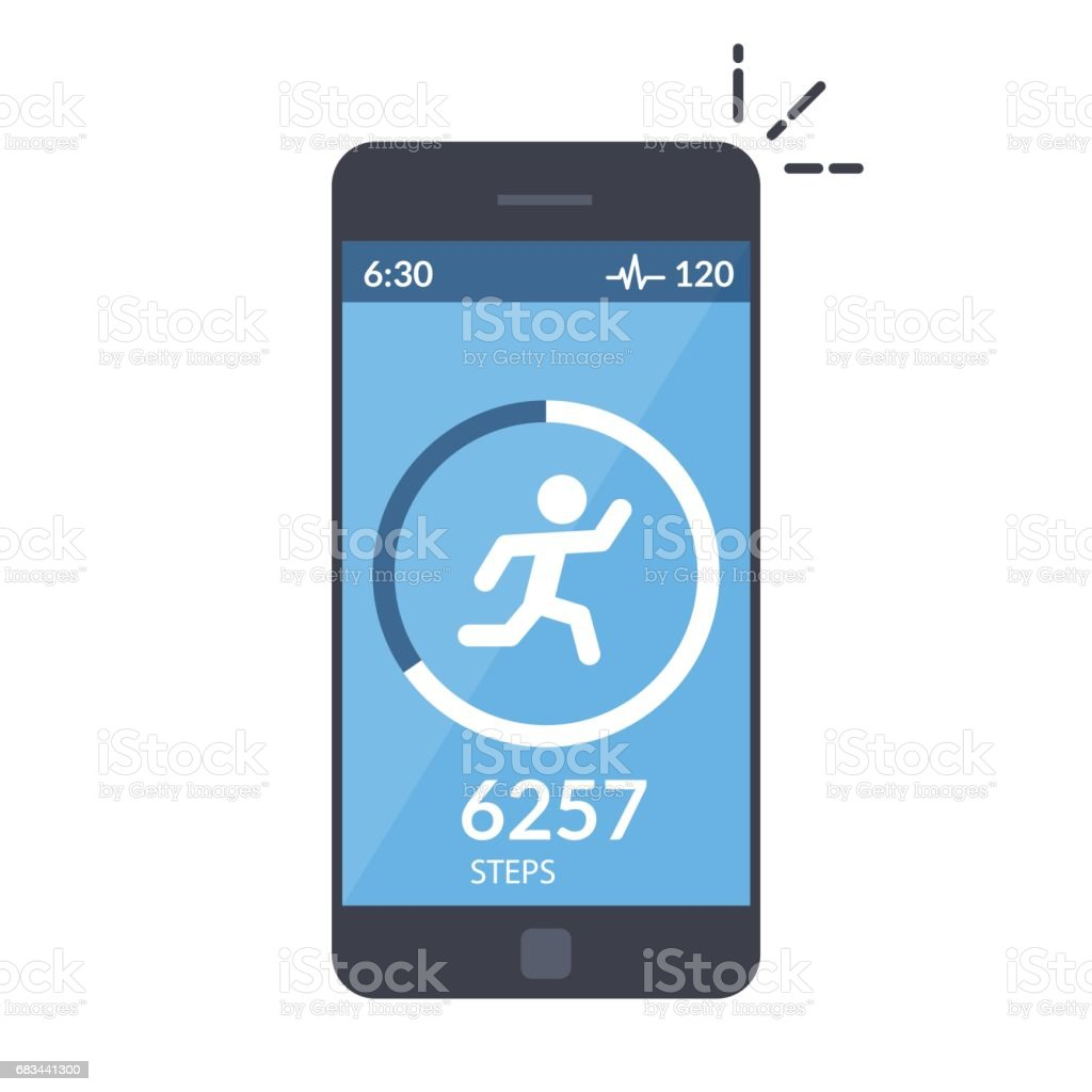Application On The Mobile Phone To Track The Steps The Pedometer App For  Morning Jogging Or Fitness The Concept Of The Interface Design Of The Apps