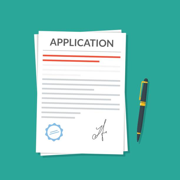 Application or document with a seal and a signature next to which is a pen. Application for leave or dismissal. Premium quality vector illustration in a flat style. Application or document with a seal and a signature next to which is a pen. Application for leave or dismissal. Premium quality vector illustration in a flat style application form stock illustrations