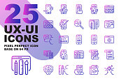 UX UI Application outline gradient icons set base on 64px, Pixel perfect alignment process icon.