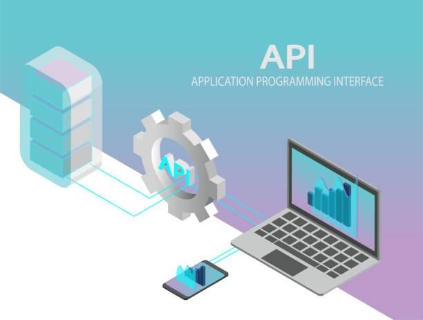 api anwendung programming interface konzept vektor. isometrische it-abbildung. - entspannungsmethoden stock-grafiken, -clipart, -cartoons und -symbole