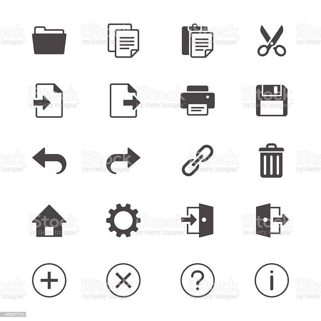 Application toolbar flat icons vector art illustration