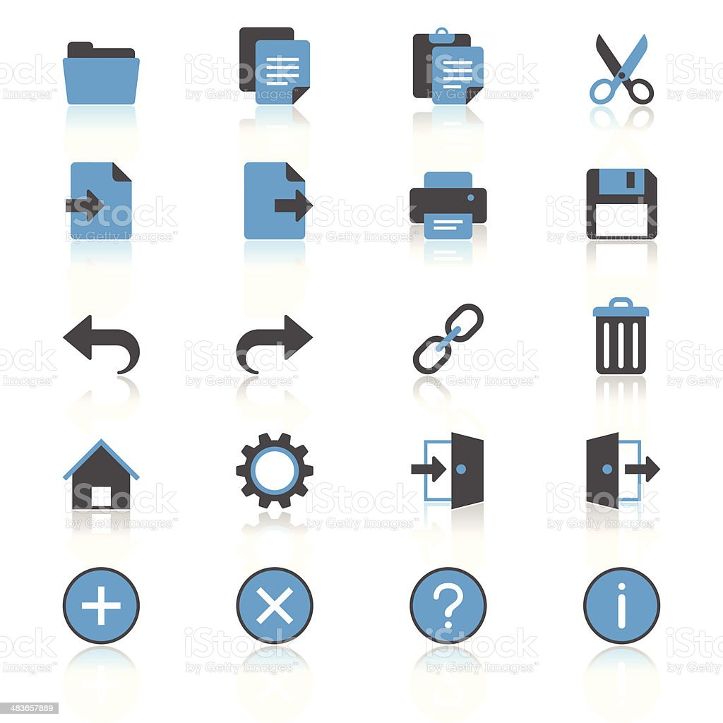 Application toolbar flat with reflection icons vector art illustration