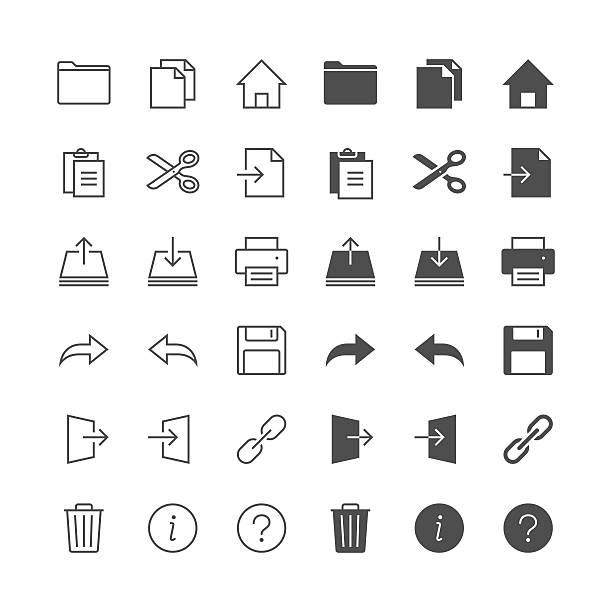 Anwendung Symbolleiste Symbole, inklusive normaler Haut und aktiviert haben. – Vektorgrafik