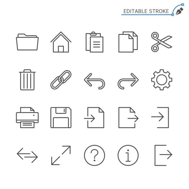 Application toolbar line icons. Editable stroke. Pixel perfect. vector art illustration