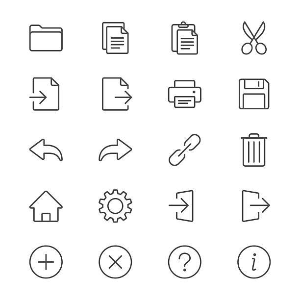 Anmeldung dünne Symbole Symbolleiste – Vektorgrafik