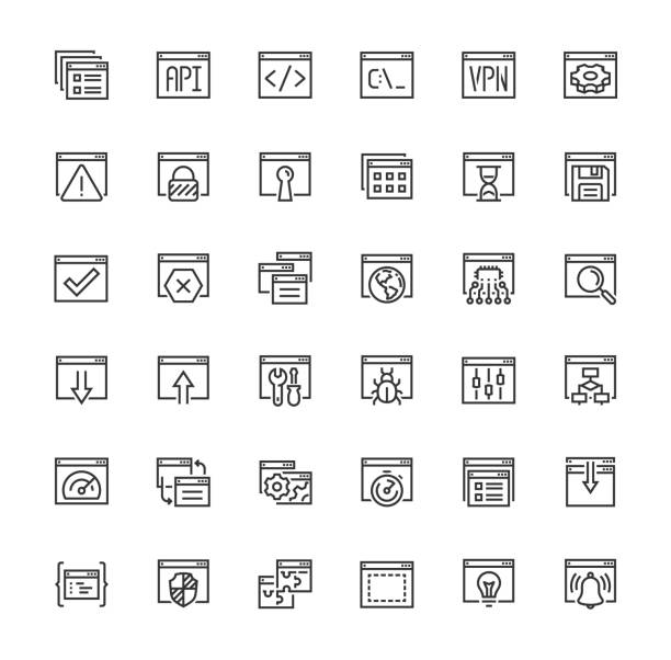 Applications and Programming Vector Icon Set in Outline Style vector art illustration