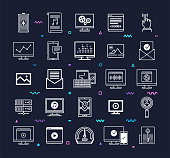 Web applications and data science outline style symbols with   decorations on dark background. Line vector icons set for infographics, mobile and web designs.