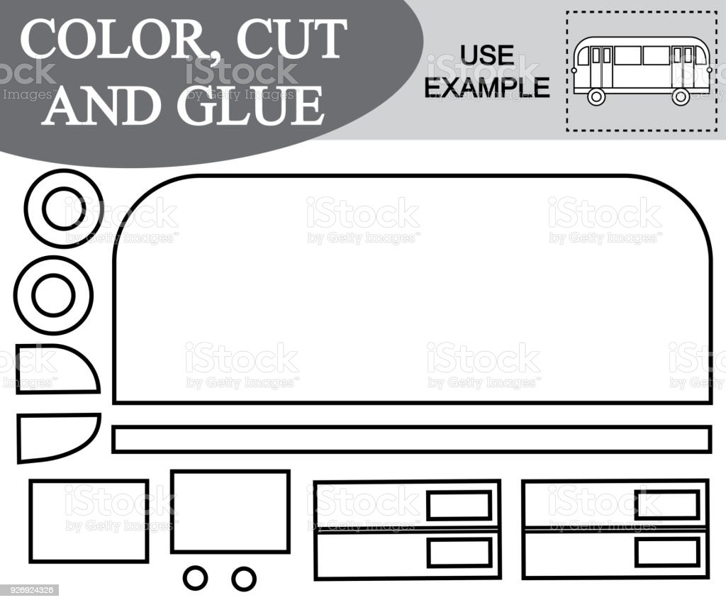 Appliqu color cut and glue the image of bus educational activity periodic table appliqu color cut and glue the image of bus educational activity for children urtaz Image collections