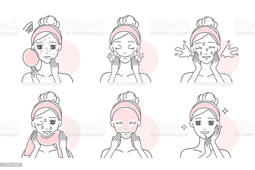 aplicar máscara para tratar a acne - Vetor de Acne royalty-free