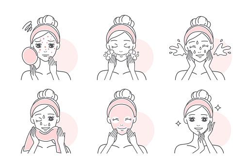 Vetores de Aplicar Máscara Para Tratar A Acne e mais imagens de Acne