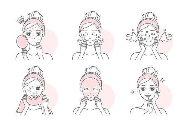 apply mask to treat acne - adults only stock illustrations