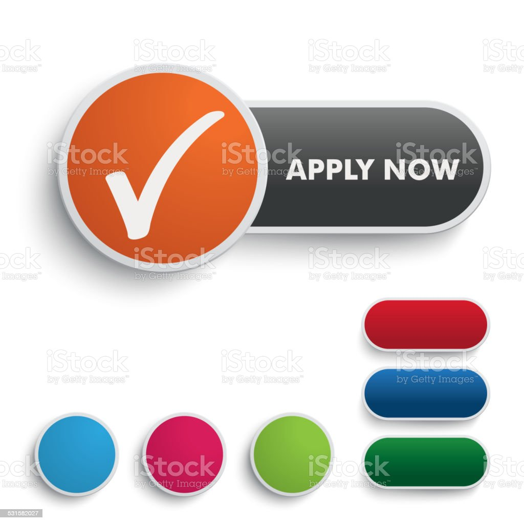 Apply Now Button Black Orange vector art illustration