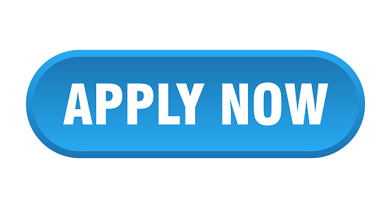 apply now button. rounded sign on white background