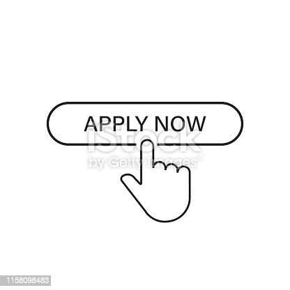 Apply now linear button icon isolated with hand pointer. Click finger illustration. Registration button. EPS 10