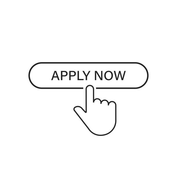 Apply now linear button icon isolated with hand pointer. Click finger illustration. Registration button. Apply now linear button icon isolated with hand pointer. Click finger illustration. Registration button. EPS 10 register stock illustrations
