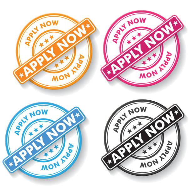 Apply Now Papper labels vector art illustration