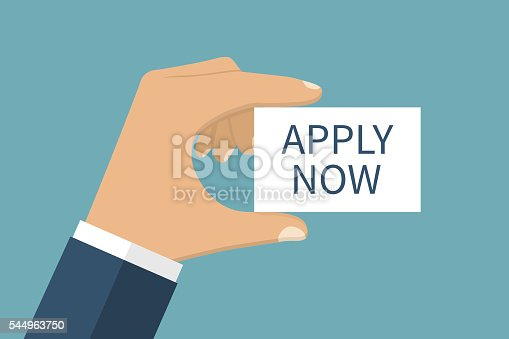 Apply now. Message on the card in the hands of a businessman. Isolation on background. Vector illustration flat design style. Template design.