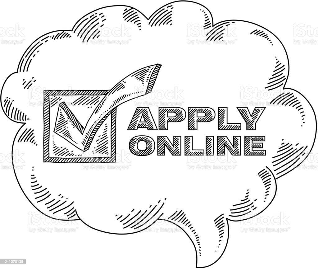 Apply Online Text With Speech Bubble Drawing stock vector art ...