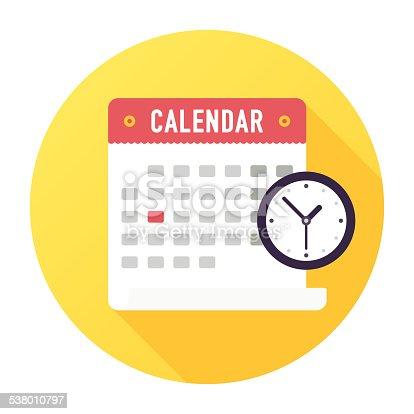 Flat & Long Shadow, Calendar with Clock Icon