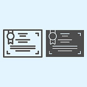 Appreciation certificate line and solid icon. Achievement diploma, gratitude letter with ribbon. Sport vector design concept, outline style pictogram on white background, use for web and app. Eps 10