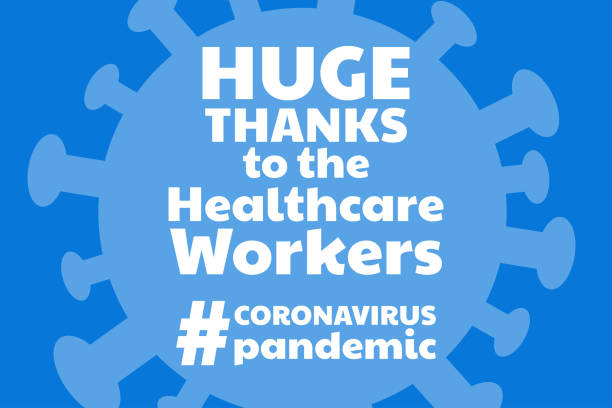 illustrazioni stock, clip art, cartoni animati e icone di tendenza di appreciation for healthcare workers fighting novel coronavirus covid-19, chinese virus or 2019-ncov. template for background, banner, poster with text inscription. vector eps10 illustration - personale medico