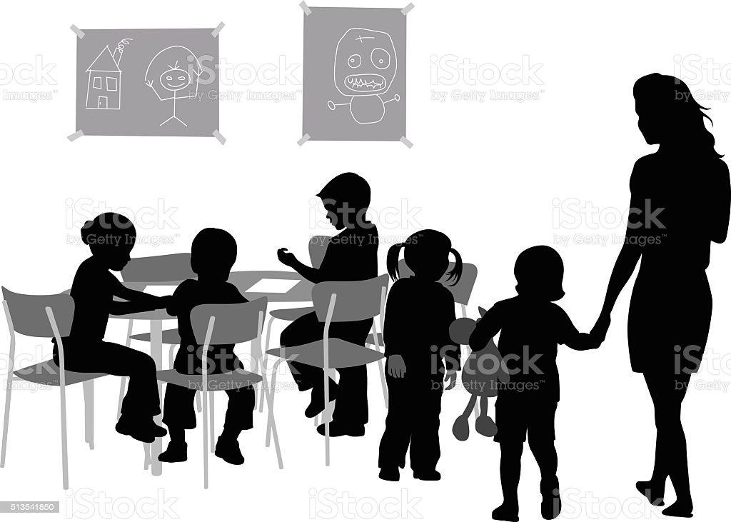 Tímido niño - ilustración de arte vectorial